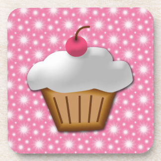 Cutout Cupcake with Pink Cherry on Top Beverage Coaster