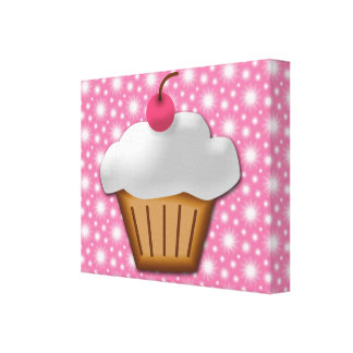 Cutout Cupcake with Pink Cherry on Top Canvas Print