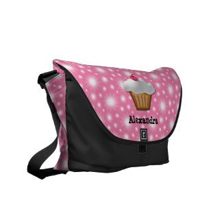 Cutout Cupcake with Pink Cherry on Top Commuter Bag