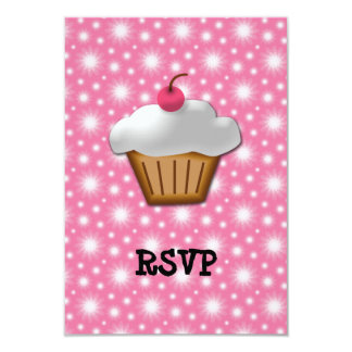 "Cutout Cupcake with Pink Cherry on Top 3.5"" X 5"" Invitation Card"