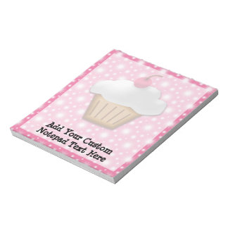 Cutout Cupcake with Pink Cherry on Top Notepads