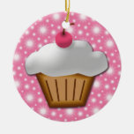 Cutout Cupcake with Pink Cherry on Top Ornament