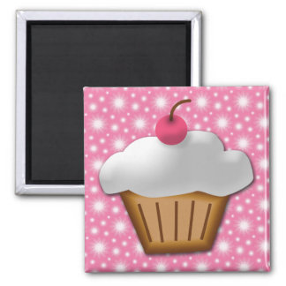 Cutout Cupcake with Pink Cherry on Top Square Magnet