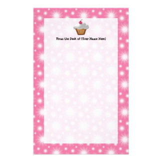 Cutout Cupcake with Pink Cherry on Top Stationery Design