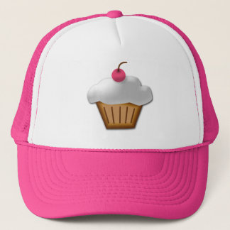 Cutout Cupcake with Pink Cherry on Top Trucker Hat