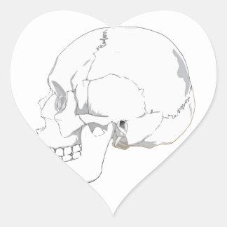 Cutout Effect White Human Skull Drawing Heart Sticker