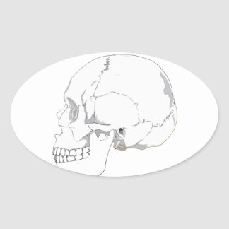 Cutout Effect White Human Skull Drawing Oval Sticker