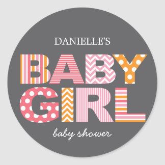 Cutout Letters Baby Shower Favor Sticker - Pink