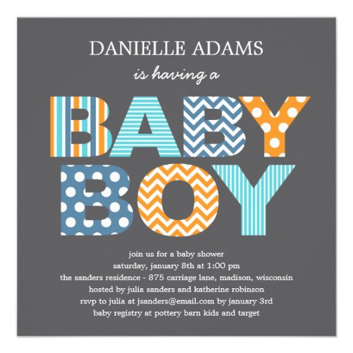 Cutout Letters Baby Shower Invitation - Boy Invitation