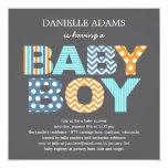 Cutout Letters Baby Shower Invitation - Boy 13 Cm X 13 Cm Square Invitation Card