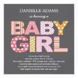 Cutout Letters Baby Shower Invitation - Girl 13 Cm X 13 Cm Square Invitation Card