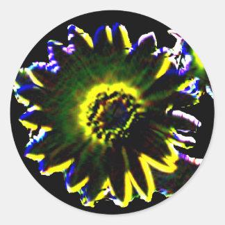 Cutout Neon Sunflower Round Sticker