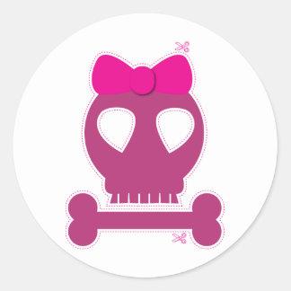 CUTOUT! pink skull girl Round Sticker