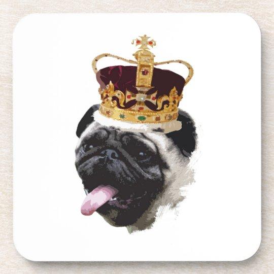 Cutout Pug in a Crown Coaster