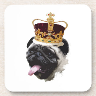 Cutout Pug in a Crown Drink Coasters