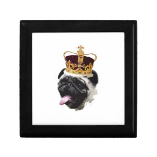 Cutout Pug in a Crown Small Square Gift Box