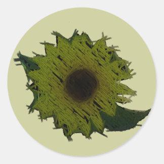"""Cutout """"Straw"""" Sunflower Round Sticker"""