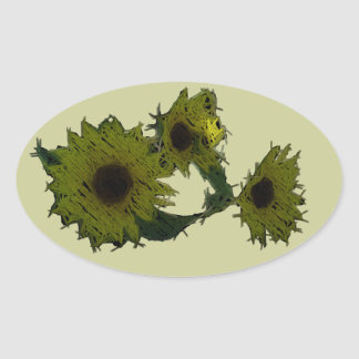 "Cutout ""Straw"" Sunflowers Oval Sticker"