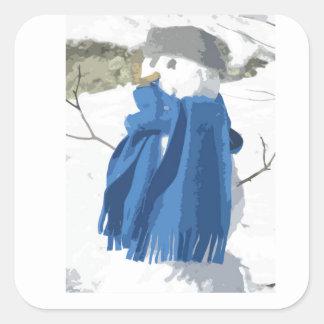 Cutout vintage effect snowman square sticker