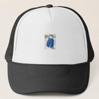 Cutout vintage effect snowman trucker hat