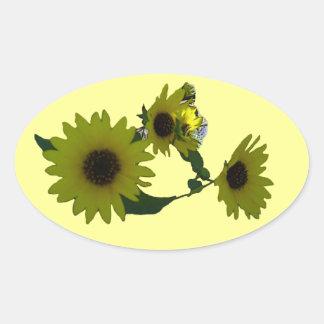 Cutout Wild Sunflowers Oval Sticker