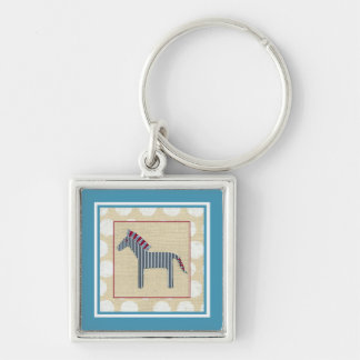 Cutout Zebra on Cream Background Key Ring