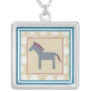 Cutout Zebra on Cream Background Silver Plated Necklace