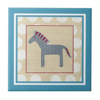 Cutout Zebra on Cream Background Small Square Tile