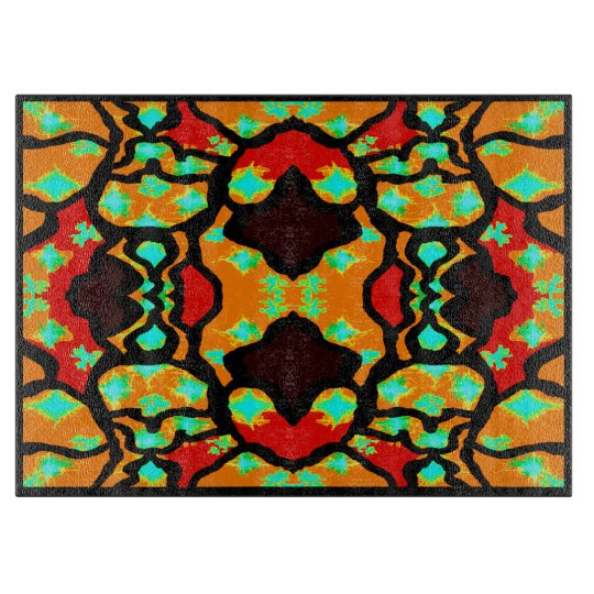 Cutting Board-Home- Orange/Red/Turquoise/Black Cutting Board