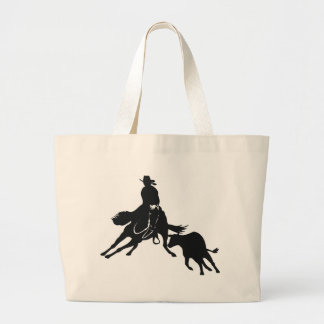 Cutting Horse and cow Large Tote Bag