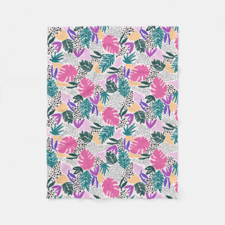 Cutting Shapes Tropical Pattern Fleece Blanket