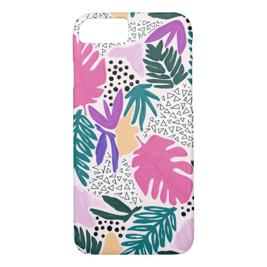 Cutting Shapes Tropical Pattern Phone Cover