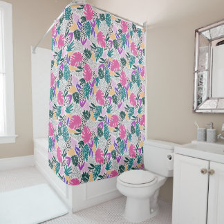 Cutting Shapes Tropical Pattern Shower Curtain