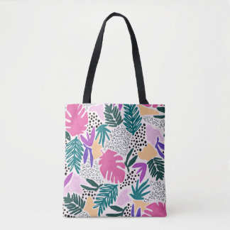 Cutting Shapes Tropical Pattern Tote Bag