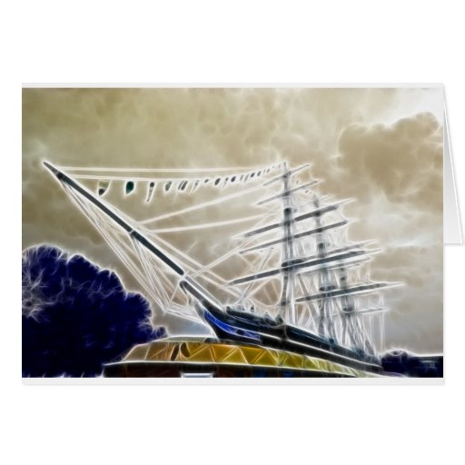 Cutty Sark Greenwich Fractals Greeting Cards