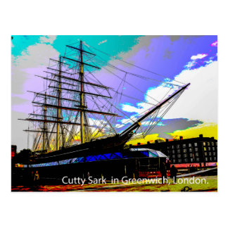 Cutty Sark in Greenwich,London. Postcard