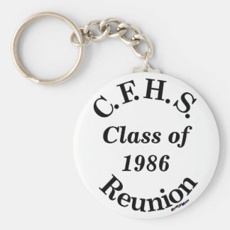 Cuyahoga Falls High School Reunion - white key Basic Round Button Key Ring