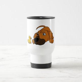 CV- Brown Puppy Dog with Rubber Duck Cartoon 15 Oz Stainless Steel Travel Mug