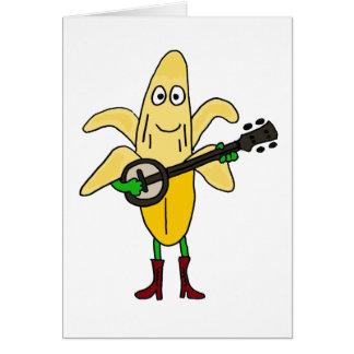 CV- Funny Banana Playing Banjo Cartoon Greeting Card
