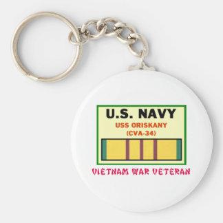 CVA-34 ORISKANY Vietnam War Vet Basic Round Button Key Ring