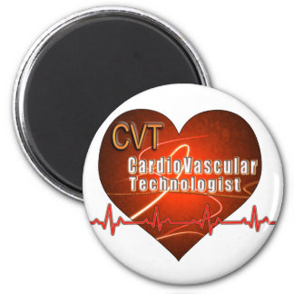 CVT HEART LOGO Cardiovascular Technologist 6 Cm Round Magnet