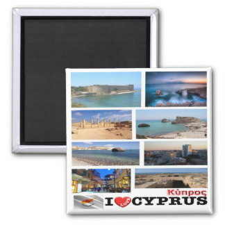 CY - Cyprus - I Love Collage Mosaic Square Magnet
