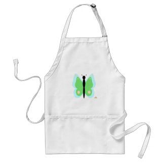 Cyan And Green Butterfly Apron