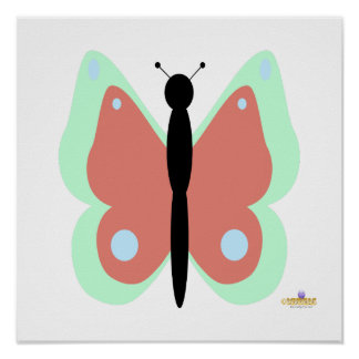 Cyan And Pink Butterfly Posters