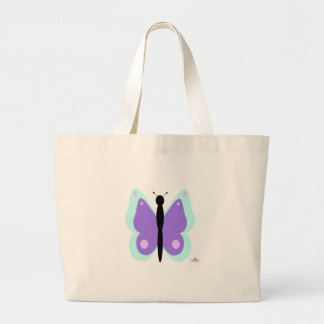Cyan And Purple Butterfly Large Tote Bag
