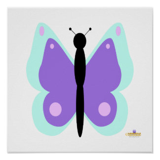 Cyan And Purple Butterfly Posters