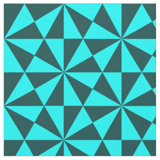 Cyan and teal triangles pattern fabric