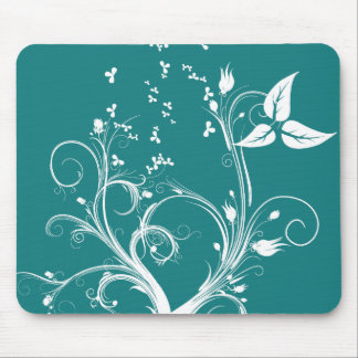 Cyan and White Abstract Plant Mouse Mat
