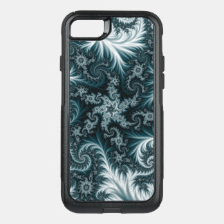 Cyan and white fractal pattern. OtterBox commuter iPhone 8/7 case