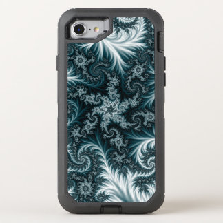 Cyan and white fractal pattern. OtterBox defender iPhone 8/7 case